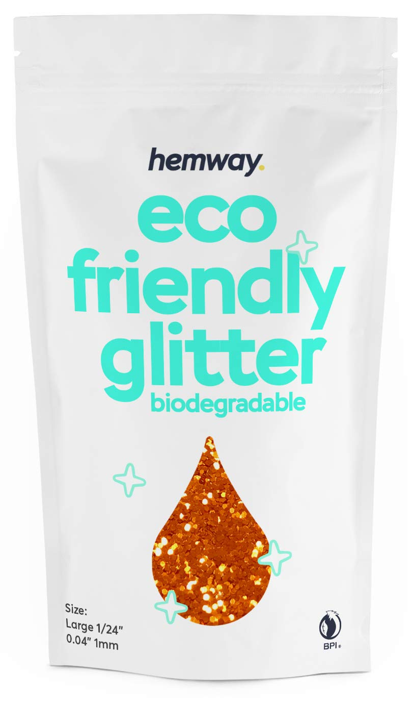 """Hemway Eco Friendly Biodegradable Glitter 100g / 3.5oz Bio Cosmetic Safe Sparkle Vegan For Face, Eyeshadow, Body, Hair, Nail And Festival Makeup, Craft - 1/24"""" 0.04"""" 1mm - Copper"""