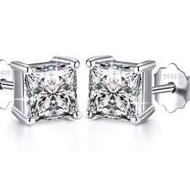 925 Sterling Silver Stud Earrings, Round Clear Cubic Zirconia Stud Earring For women girls men gift