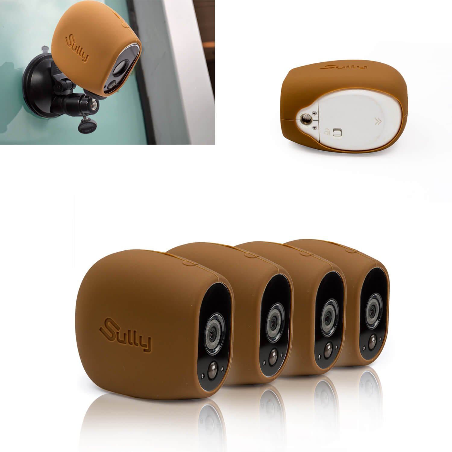 Sully Silicone Skins for Arlo HD (4 pcs Brown) - for Arlo HD Wireless Free Camera Protective Case - for Netgear Arlo HD Smart Security Accessories Silikon Case - for VMS3230- by Sully