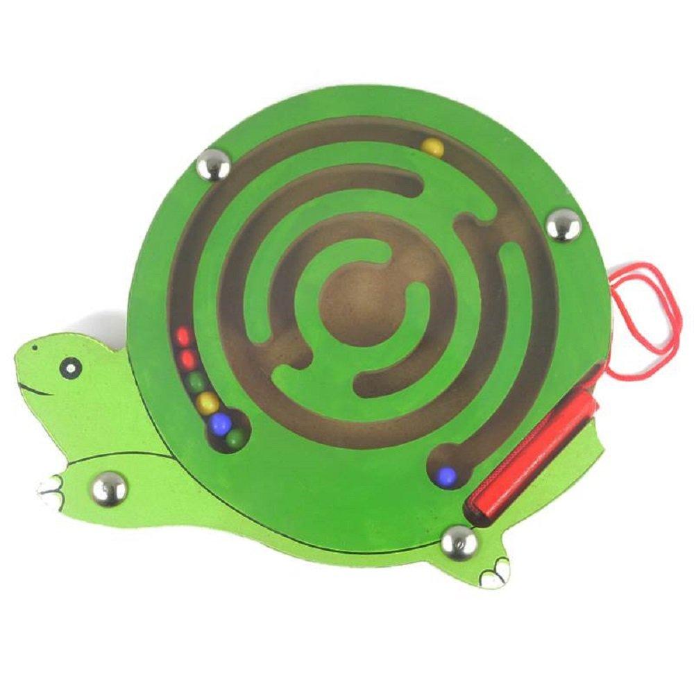 Elloapic Mini Round Wooden Round Maze Puzzle Interactive Maze Pen Driving Beads Maze on Board Game Eduactional Handcraft Toys Tortoise