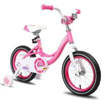 """JOYSTAR 12 14 16 Inch Kids Bike with Training Wheels for 2-7 Years Old Girls 2'9"""" - 4'5"""" Tall, Toddler Bike with 85% Assembled, Blue, Pink, Purple"""