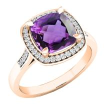 Dazzlingrock Collection 10K 8 MM Cushion Gemstone & Round White Diamond Ladies Bridal Halo Engagement Ring, Rose Gold