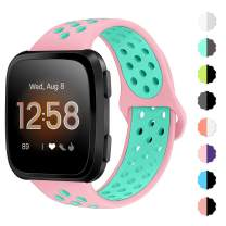 NANW Bands Compatible with Fitbit Versa/Versa 2/Versa Lite Small Large, Soft Silicone Replacement Band for Versa/Versa 2, Air Hole Wristband Strap for Women Men