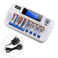 Battery Charger, 8+1 Bay Smart Battery Charger with LCD Display for AA/AAABattery Charger, 8+1 Bay Smart Battery Charger with LCD Display for AA/AAA Ni-MH/Ni-Cd 9V Rechargeable Batteries Charger,Equip