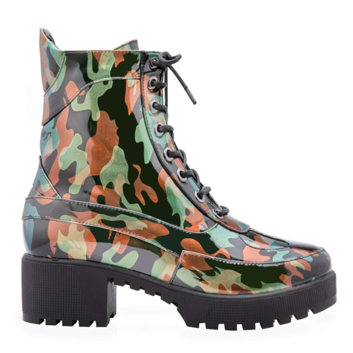 OLCHEE Women's Military Combat Ankle Boots - Lace Up Camouflage PVC Platform Block Heel Booties
