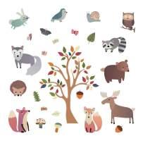 decalmile Woodland Animal Wall Decals Deer Fox Tree Wall Stickers Nursery Wall Art Decor Kids Bedroom Baby Room Decoration
