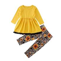 Two Piece Toddler Girl Outfits Sunflower Pants Set Ruffle T-Shirt Baby Dress Tops Leopard Print Leggings Kids Clothes