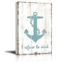 wall26 - Canvas Wall Art - I Refuse to Sink Quotes on Wood Style Background - Gallery Wrap Modern Home Decor | Ready to Hang - 24x36 inches