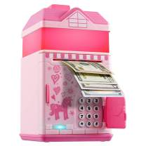 Piggy Bank for Girls, Electronic Money Coin Code Bank with LED Night Light and 10 Music, Pink Safe Box with Personal Password Setting, Auto Money Scroll,  For Kids` Birthday