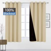 HOMEIDEAS 100% Blackout Curtains 52 X 63 Inch Length 2 Panels Beige Full Light Blocking Curtains, Energy Saving Thermal Insulated 2 Layers Thick Black Liner Curtains for Bedroom