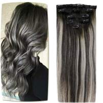 [20% OFF]LaaVoo Clip in Hair Extensions Remy Real Clip on Human Hair in Black to Grey Silver Mixed Black Clips on Hair with 5 Pieces Straight Silky Clip in Human Hair 16inch 70g/pack For Full Head