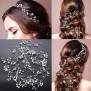 FaFaVila Long 100 CM /39.3 inches Wedding Silver Vines Handmade Bridal Headband Hair Accessories for Bride and Bridesmaid Crystal Beads Rhinestones Ivory Beads (Silver)