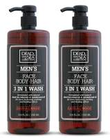 Dead Sea Collection Men's Mineral Face, Hair & Body Wash with Sandal-wood Extract known to sooth the skin, relieve it from irritation, keeping you feeling fresh and cool Pack of 2 (33.8 fl.oz each)
