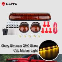 cciyu 3pcs Amber Cab Marker Light Cab Roof Running Top Clearance Marker Light Assembly T10-8-3020-SMD White with Wiring Pack Replacement fit for 2002-2007 Chevy Silverado/GMC Sierra 1500 2500HD 3500