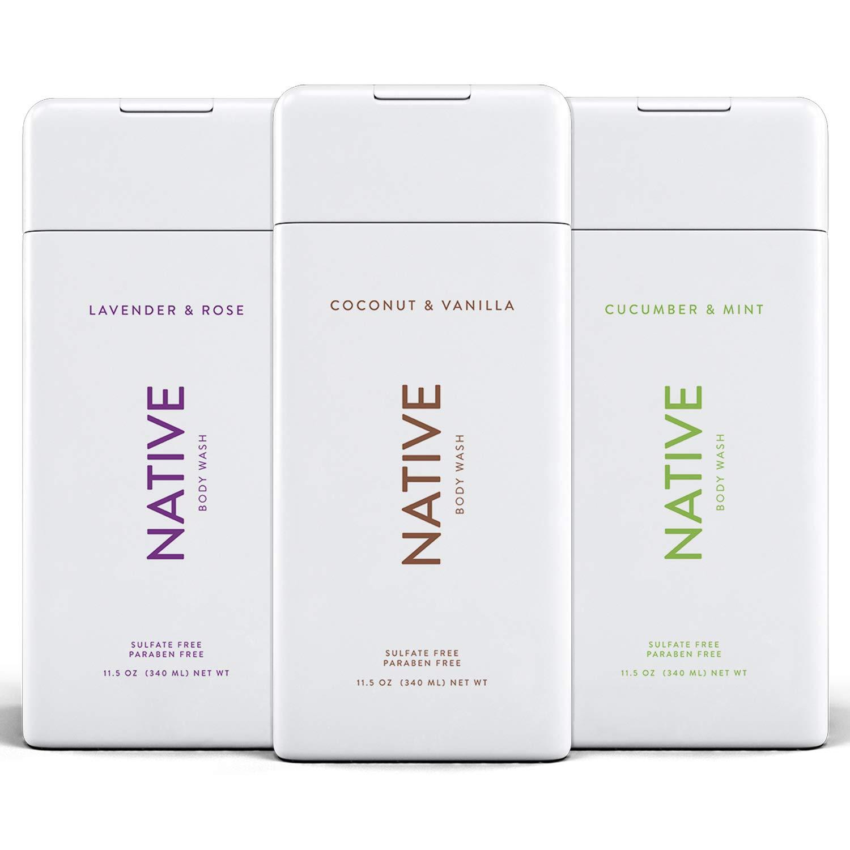 Native Body Wash 3 Pack - Natural Body Wash Women & Men - SLS & Paraben Free - Cucumber & Mint, Coconut & Vanilla, Lavender & Rose