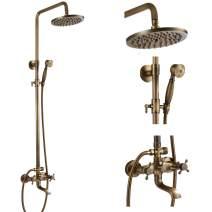 Antique Brass Tub Shower Fixture 8-inch Rainfall Shower Head Sets Vintage 2 Cross Knobs Wall Mounted Mixer Bathroom Shower Combo Set Adjustable Handheld Shower Spray Triple Function