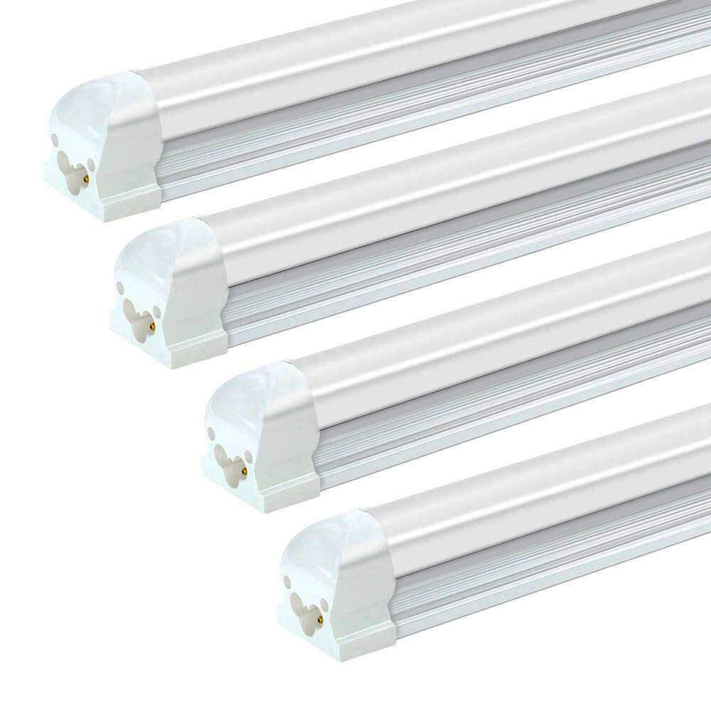 SHOPLED LED Tube Light T8 Integrated Single Fixture, 8FT, 72W, 5000K, Daylight White 7200lm, Frosted Cover Linkable LED Shop Light Bulb, Garage, Ceiling, Warehouse Lighting Fixture, AC100-305V, 4-Pack