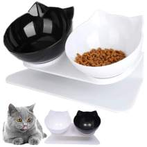 Cilkus Cat Double Food Bowl Pet Food Bowl with Raised Stand Pet Feeding Bowl Perfect for Cats and Small Dogs