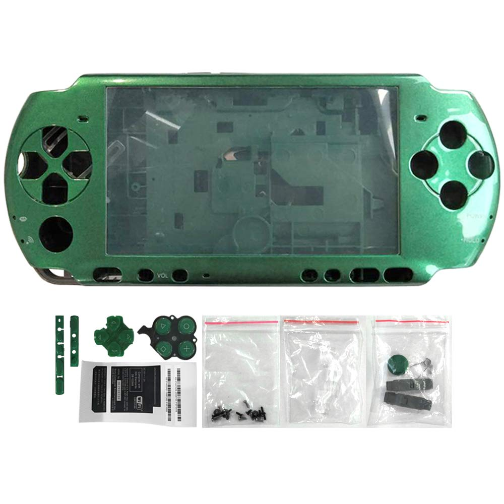 OSTENT Full Housing Shell Faceplate Case Repair Replacement Compatible for Sony PSP 3000 Console Color Green