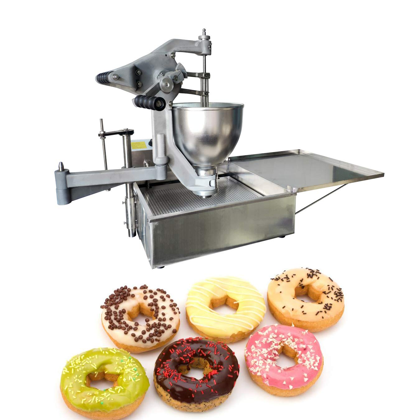 TECHTONGDA Donut Fryer Machine Commercial Electric Donut Maker Machine for Donut Doughnut Making Frying Donut Machine with 3 Moulds 9L Capacity Hopper Stainless Steel 220V 3KW