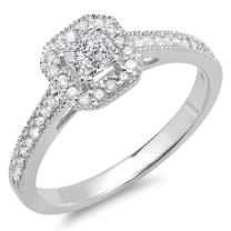 Dazzlingrock Collection 0.50 Carat (ctw) 14K Gold Princess & Round Diamond Ladies Halo Style Engagement Ring 1/2 CT