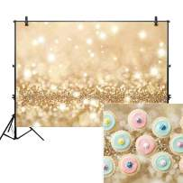 Allenjoy 5x3ft Gold Bokeh Backdrop for Studio Photography Polka Dots Shiny (no glitter) Sparkle Birthday Party Graduation Newborn Baby Shower Professional Portrait Product Photo Booth Background Props