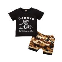 Daddy&Son Outfits Baby Boy Clothes Short Sleeves Black T-Shirt Top+Camouflage Shorts Toddler Outfits Boy Summer