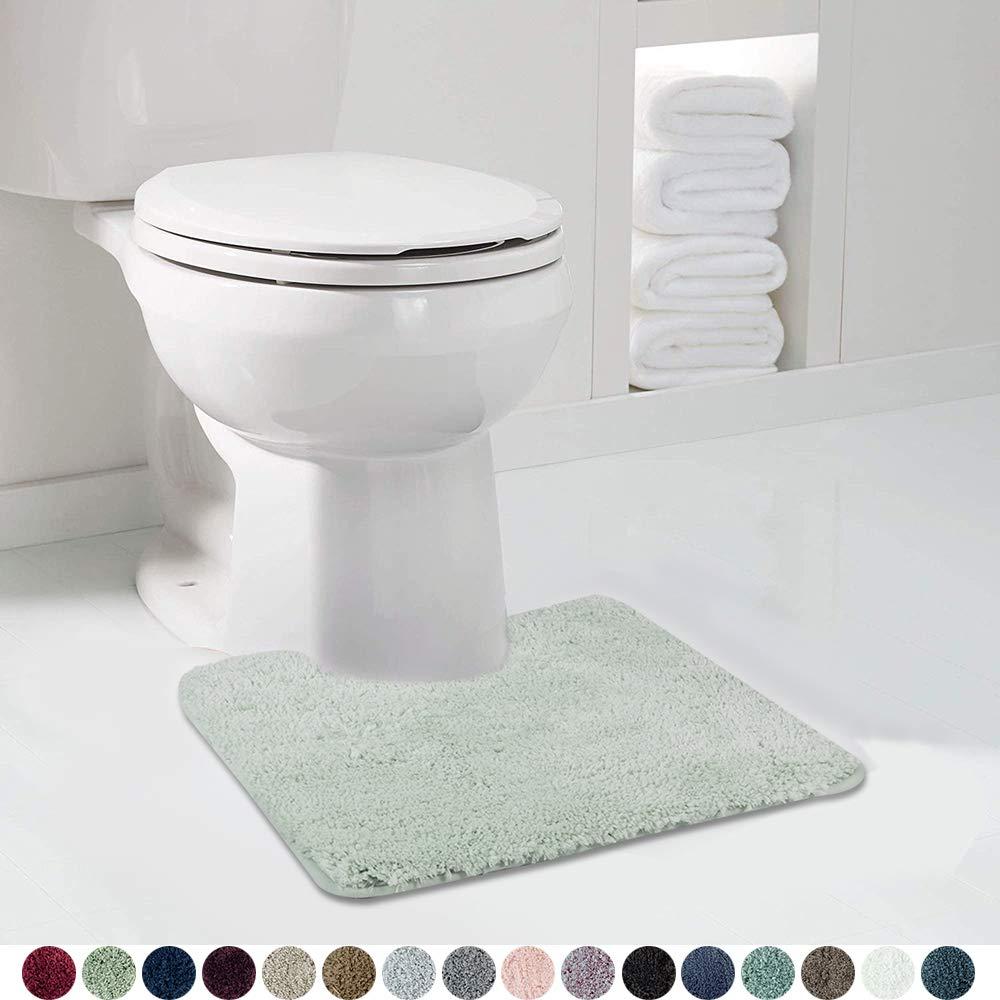 Walensee Bathroom Contour Rug (20x24, Pale Green) Non Slip Bath Mat for Bathroom Water Absorbent Soft Microfiber Shaggy Bathroom Mat Machine Washable Bath Rug for Bathroom U Shape Toilet Rug