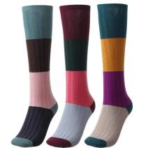 Woeoe Warm Soft Crew Socks Colorful Cozy Cotton Winter Socks Vintage Stripe Long Cabin Casual Socks for Women and Girls(3 pairs)
