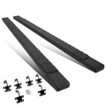 """5"""" Black Coated Flat Side Nerf Bar Running Board with Honeycomb Step Pad Replacement for Ram 1500 Crew Cab 19-20"""