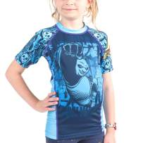 Fusion Fight Gear Kung Fu Panda Dragon Warrior Kids Rash Guard Compression Shirt - Blue Short Sleeve