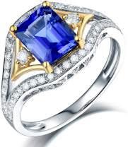 Lanmi 14K White Gold AAA Natural Blue Tanzanite Diamonds Rings Engagement Wedding Band for Women