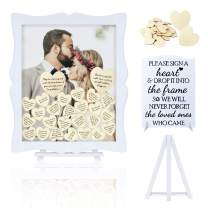 Wedding Guest Book Alternative Wooden Picture Frame with Display Stand, 85 Wooden Hearts 2 Large Hearts, DIY Insert Custom Portrait Sign Book for Special Parties Such as Wedding, Birthday, Anniversary