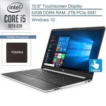 """2020 HP 15 15.6"""" Touchscreen Laptop Computer, 10th Gen Intel Quad-Core i5 1035G4 Up to 3.7GHz (Beats i7-7500U), 32GB DDR4 RAM, 2TB PCIe SSD, 802.11ac WiFi, HDMI, Silver, Windows 10, YZAKKA Mouse Pad"""