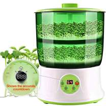 Bean Sprouts Machine, LED Display Time Control, Intelligent Automatic Bean Sprouts Maker, 2 Layers Function Large Capacity Seed Grow Cereal Tool, 110V