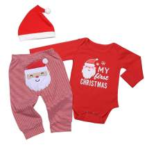 My 1st Christmas Newborn Baby Boy Girl Clothes Long Sleeve Romper+Santa Claus Pants+Xmas Hat Outfit Set