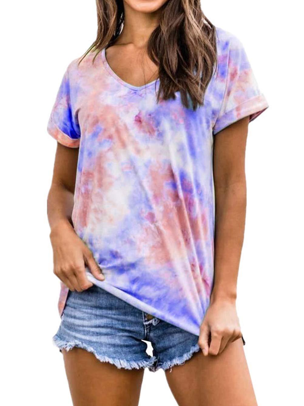 Kaei&Shi Tie Dye Shirt Women, Colorful Tops,Tye Dye Printed Tshirts for Women, Summer Casual T Shirt