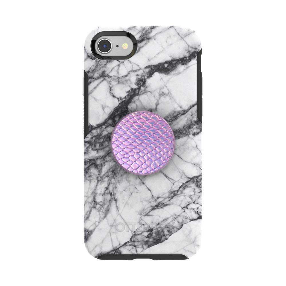 Otter + Pop for iPhone SE, 7 and 8: OtterBox Symmetry Series Case with PopSockets Swappable PopTop - White Marble and Iridescent Snake Golden Pink