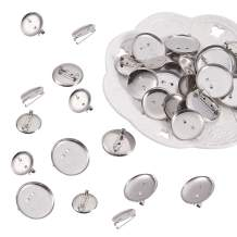 PandaHall Elite 150 Pcs 3 Sizes Iron Brooch Clasps Pin Disk Base Pad Bezel Blank Cabochon Trays Backs Bar Diameter 20mm 25mm 29mm for Badge, Corsage, Name Tags and Jewelry Craft Making Platinum