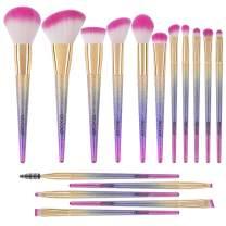 Docolor Makeup Brushes Set 16Pcs Professional Makeup Brushes Fantasy Glitter Design Premium Synthetic Face Highlight Contour Eye Brush Blending Brushes Kit