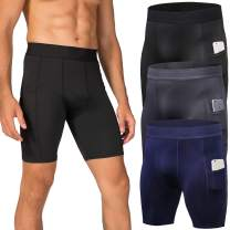Lavento Men's Compression Shorts Moisture-Wicking Baselayer Active Tights