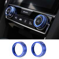 Thenice for 10th Gen Honda Civic Air Condition Knob Cover Trims, Anodized Aluminum AC Switch Temperature Climate Control Rings for Civic 2016 2017 2018 2019 (Blue)