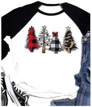 Merry Christmas T Shirt Womens Plaid Leopard Printed Tree Baseball T-Shirt Funny 3/4 Sleeve Graphic Tops Tees