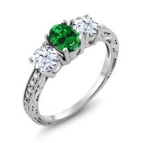 Gem Stone King 925 Sterling Silver Green Simulated Emerald Women's Ring (2.22 Ct Oval Available 5,6,7,8,9)