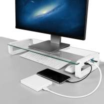Monitor Stand Riser, 4-Port USB 3.0 Hub Tempered Glass Monitor Riser Quick Charge 5Gbps High-Speed Transfer Data Desk Organizer Keyboard & Mouse Storage with USB Cable for Laptop PC MacBook (White)