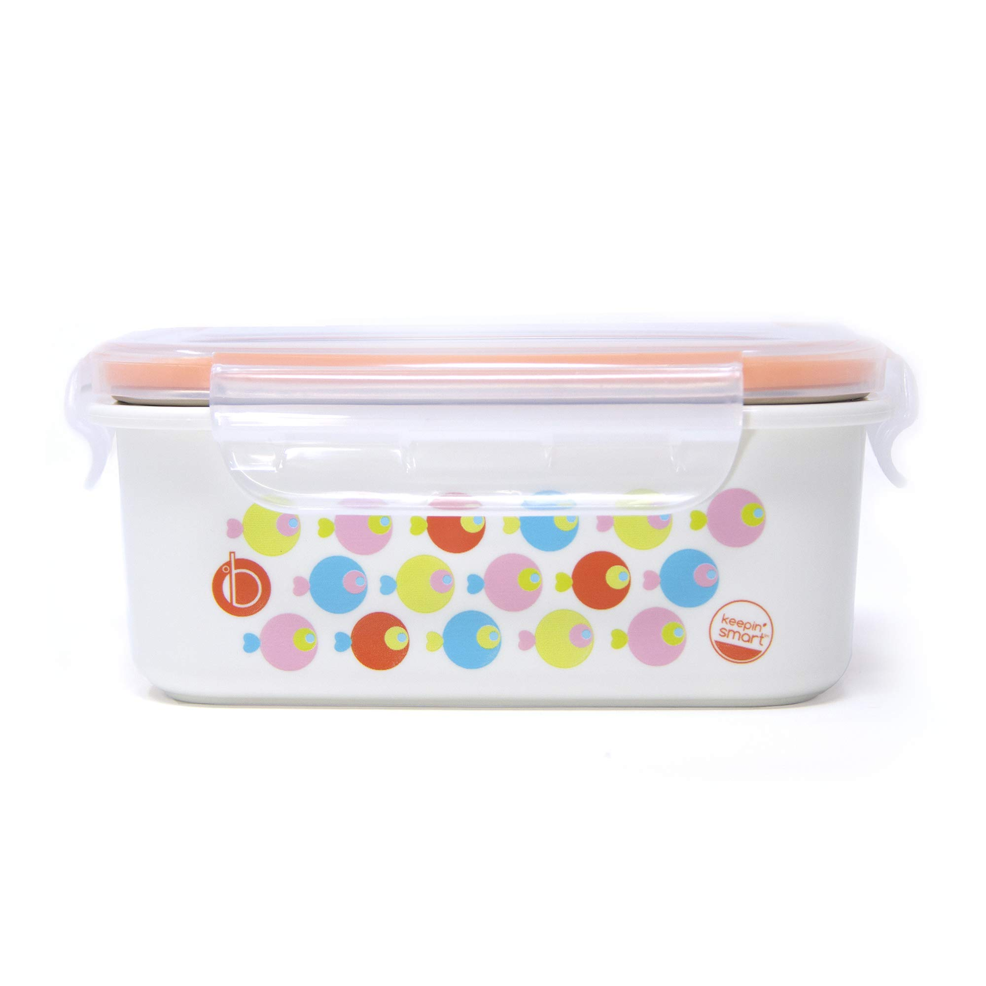 Innobaby Keepin' Fresh Stainless Bento Snack or Lunch Box with Lid for Kids and Toddlers 15 oz, BPA Free Food Storage, Orange Fish