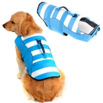 Fragralley High Visibility Dog Life Jacket Safety Vests for Swimming, Superior Buoyancy & Rescue Handle