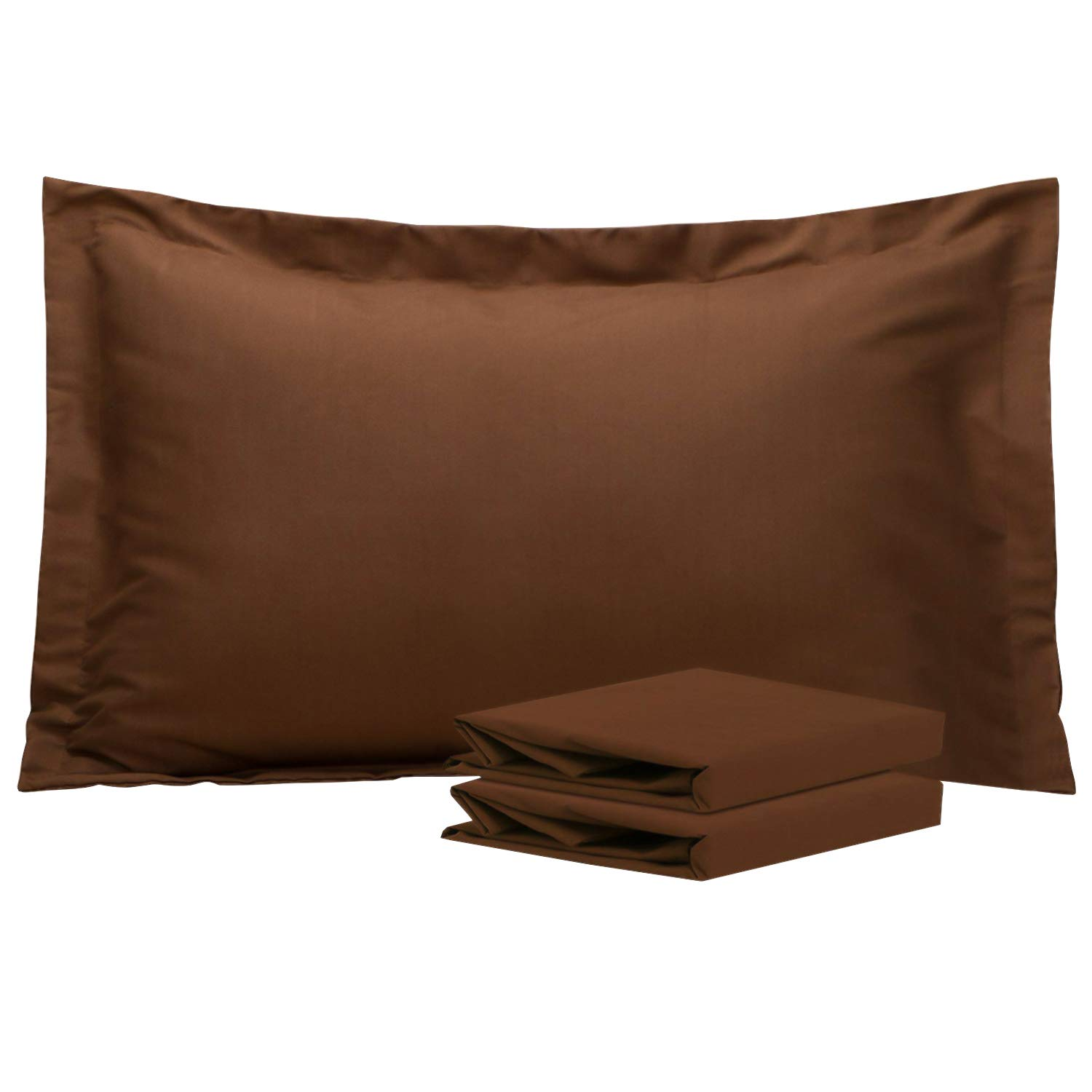 NTBAY King Pillow Shams, Set of 2, 100% Brushed Microfiber, Soft and Cozy, Wrinkle, Fade, Stain Resistant (King, Coffee)