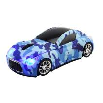 CHUYI Cool Sports 3D Car Shaped Wireless Optical Mouse 1600DPI 3 Button Ergonomic Gaming Office Mice with USB Receiver for Travel Business School Home Gift (Camouflage Blue)