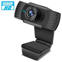HD Webcam 1080P with Microphone, PC Laptop Desktop USB Webcams, Pro Streaming Computer Camera for Video Calling, Recording, Conferencing, Gaming with Computer Desktop Laptop MacBook for Windows Androi